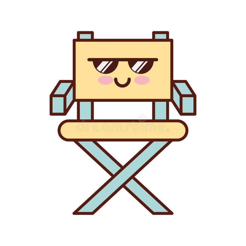 Caractère De Kawaii De Chaise De Cinéaste Illustration de Vecteur ...