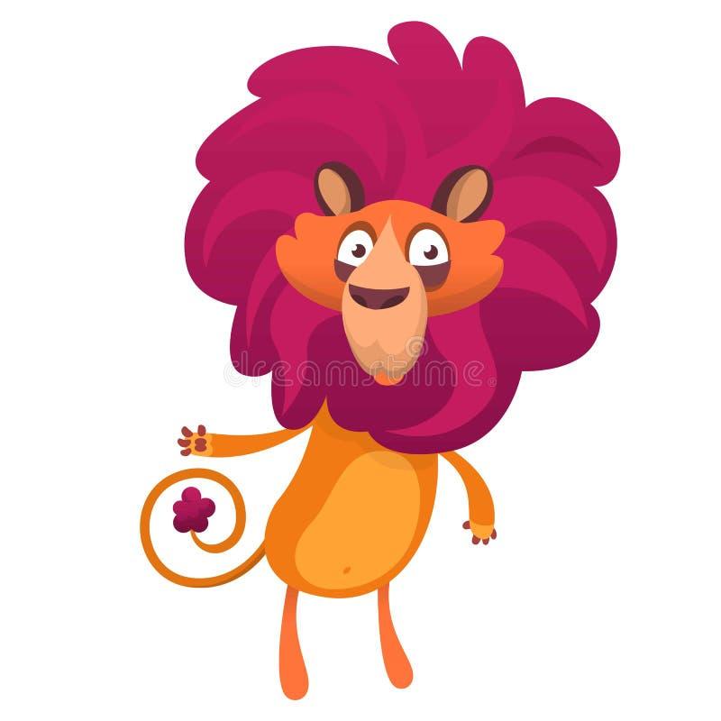 Caractère de lion Illustration de vecteur de bande dessinée d'isolement illustration libre de droits