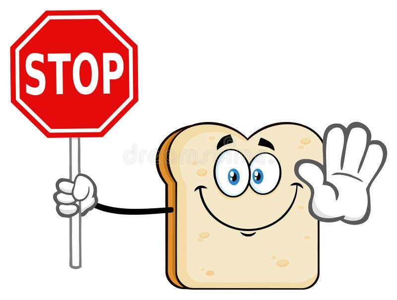 Caractère de mascotte de bande dessinée de pain découpé en tranches par blanc faisant des gestes et tenant un signe d'arrêt illustration de vecteur