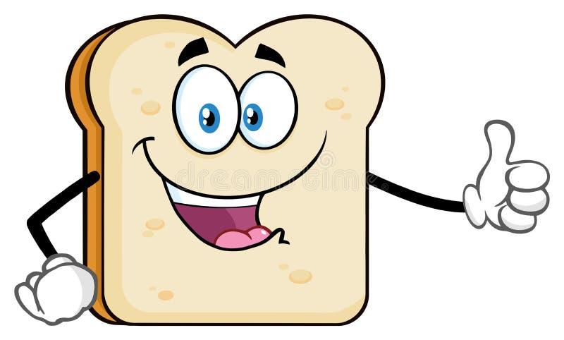 Caractère de mascotte de bande dessinée de pain découpé en tranches par blanc renonçant à un pouce illustration de vecteur