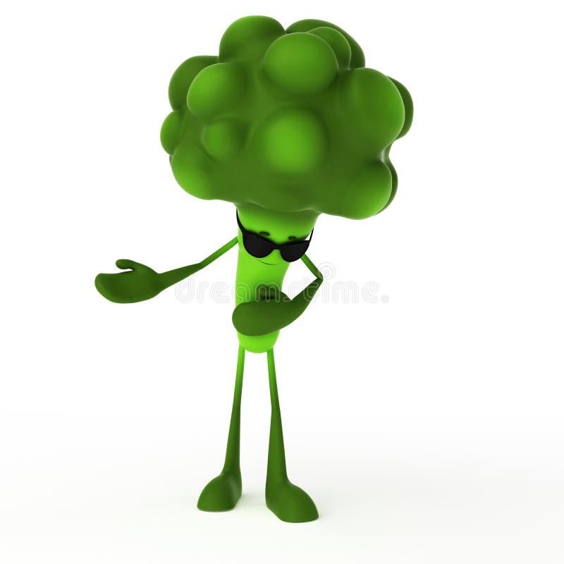 Caractère de nourriture - broccoli illustration de vecteur
