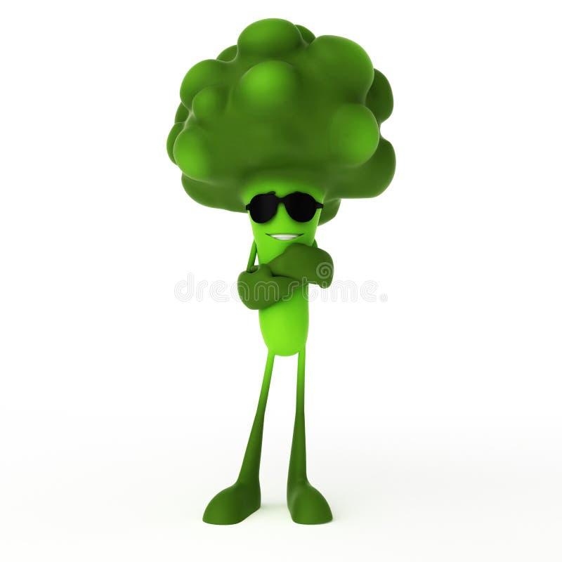 Caractère de nourriture - broccoli illustration libre de droits