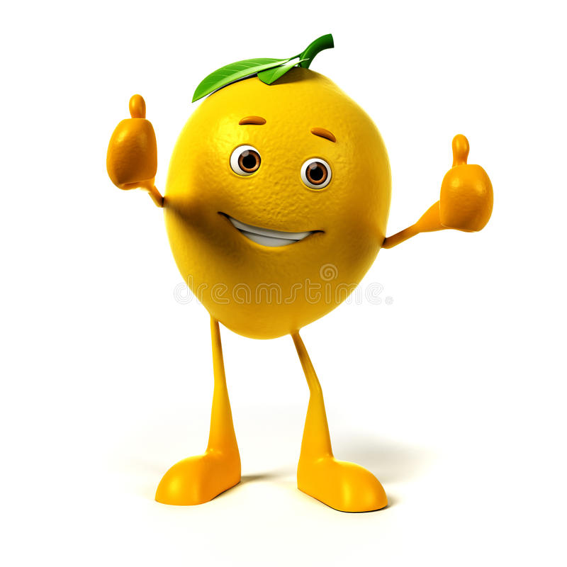 Caractère de nourriture - citron illustration stock