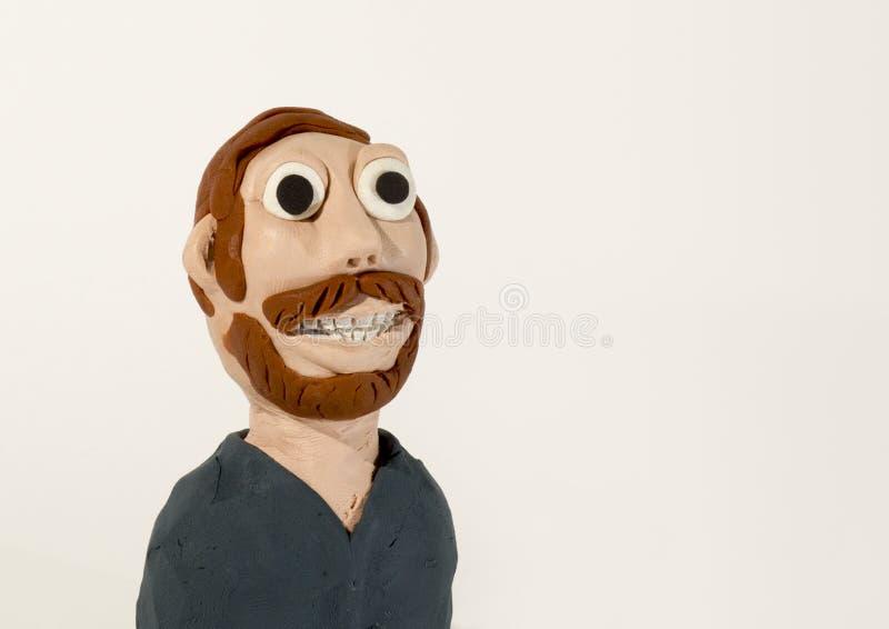 Caractère de pâte à modeler Homme avec la barbe image stock