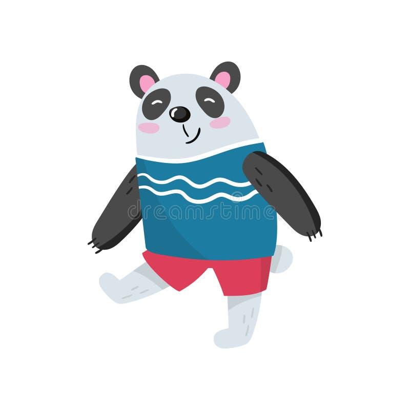 Caractère de panda de bande dessinée marchant avec le museau de sourire Ours en bambou noir et blanc dans le T-shirt et les short illustration libre de droits