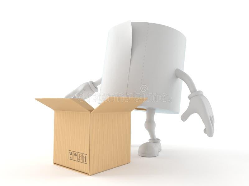 Caractère de papier hygiénique avec la boîte en carton ouverte illustration libre de droits