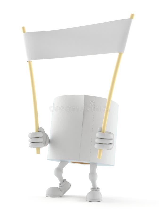 Caractère de papier hygiénique tenant la bannière vide illustration de vecteur