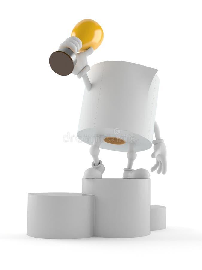 Caractère de papier hygiénique tenant le trophée d'or illustration libre de droits