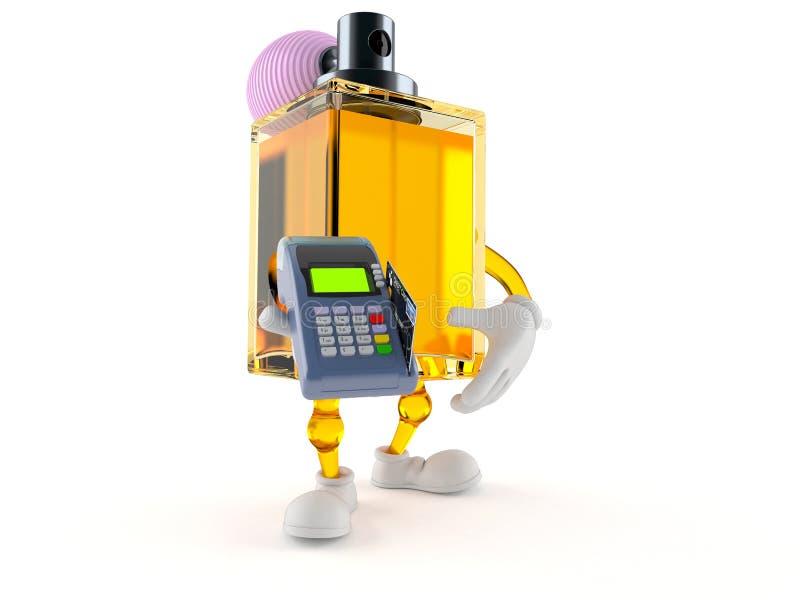 Caractère de parfum tenant le lecteur de carte de crédit illustration libre de droits