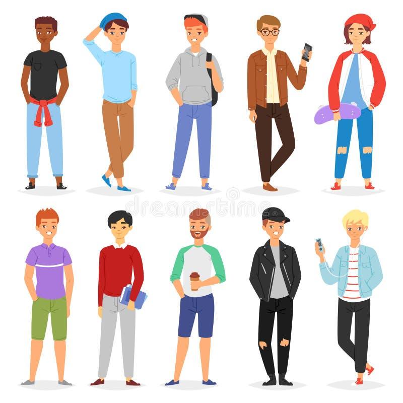 Caractère de personne masculine de vecteur d'adolescent jeune et ensemble de garçon d'illustration belle d'ami d'ado ou d'étudian illustration de vecteur