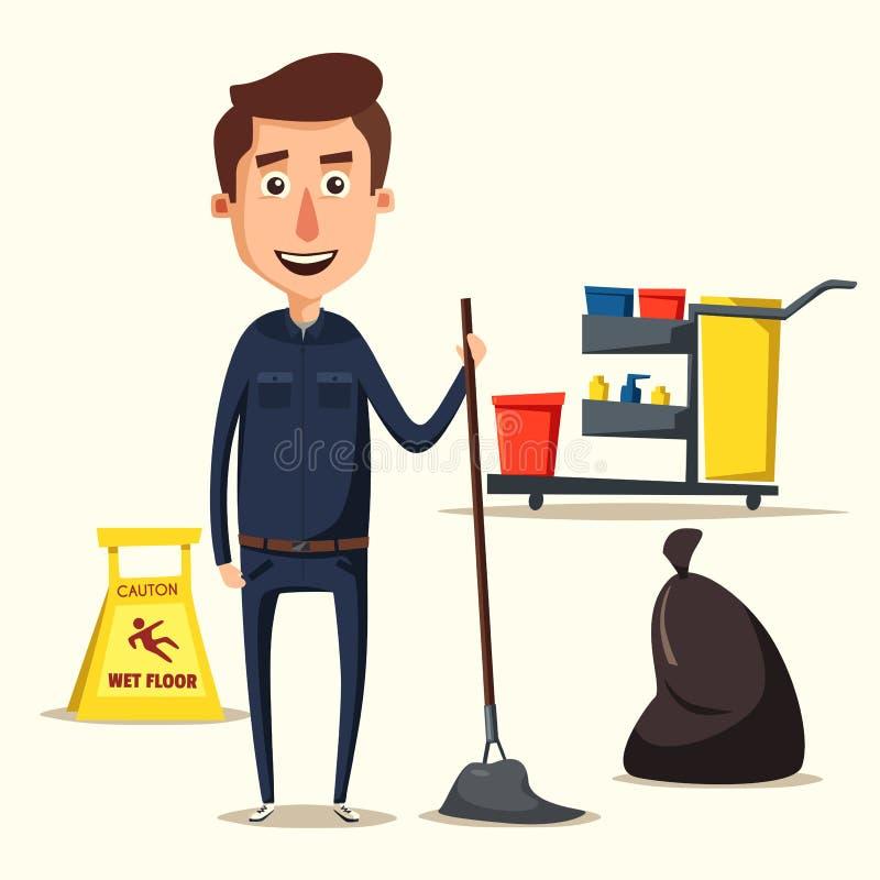 Caractère de personnel de nettoyage avec l'équipement Illustration de vecteur de dessin animé illustration de vecteur