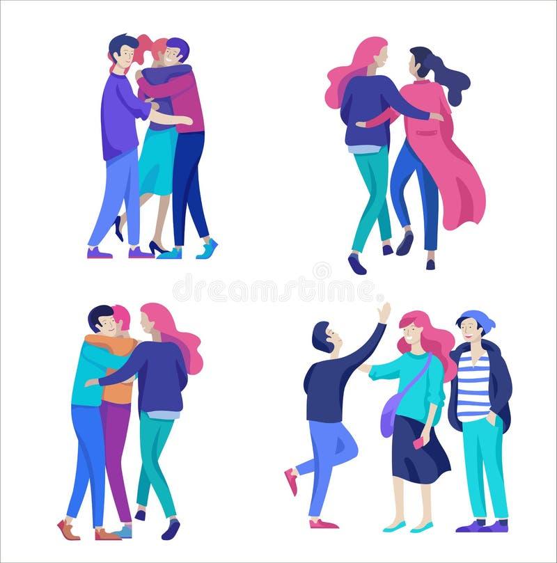 Caractère de personnes de vecteur Amis et couples étreignant, marchant et dépenser le tygether de temps illustration de vecteur