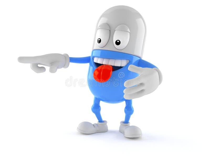 Caractère de pilule dirigeant le doigt illustration de vecteur