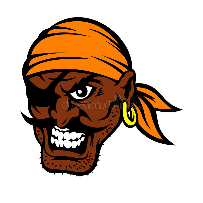 Caractère de pirate moustached par noir de bande dessinée illustration de vecteur