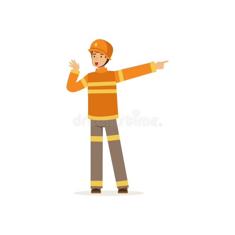 Caractère de pompier dans l'uniforme et casque de protection parlant et indiquant son doigt la droite, sapeur-pompier au travail illustration stock