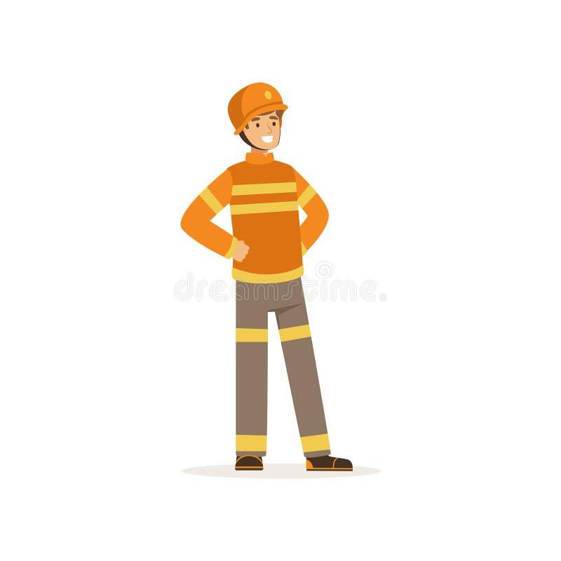 Caractère de pompier dans l'uniforme et casque de protection, sapeur-pompier à l'illustration de vecteur de travail illustration de vecteur