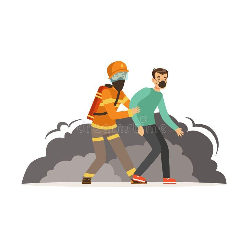 Caractère de pompier dans l'uniforme et casque de protection sauvant un homme, sapeur-pompier à l'illustration de vecteur de trav illustration de vecteur