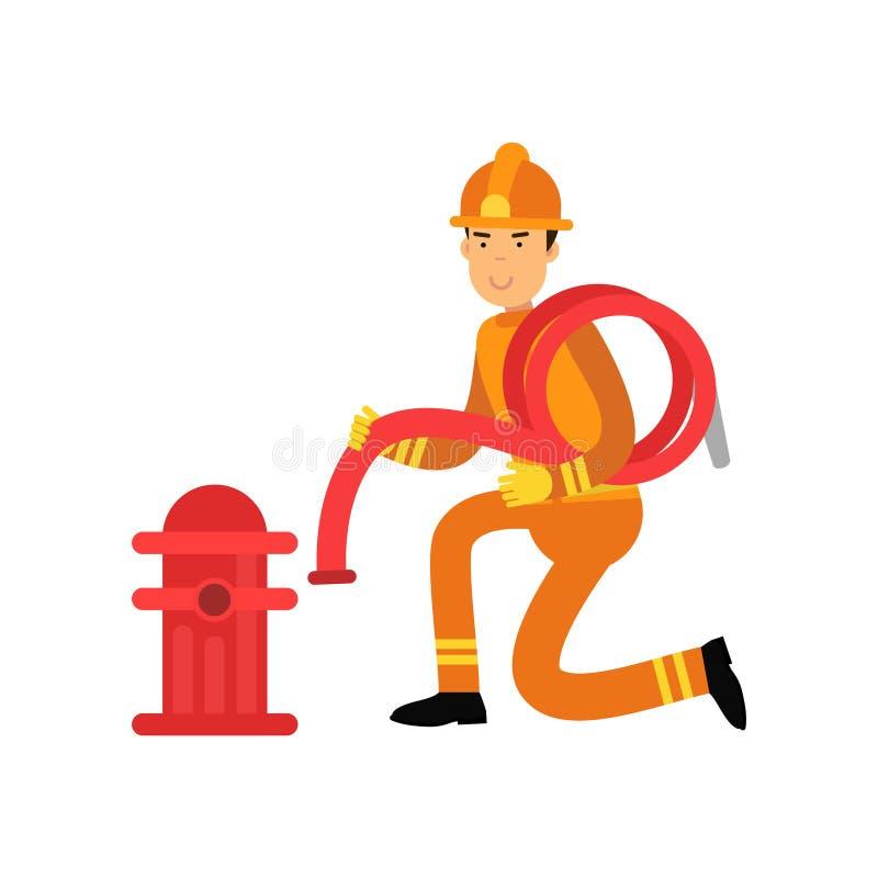 Caractère de pompier dans l'uniforme et casque de protection, tuyau se reliant de l'eau à la bouche d'incendie illustration libre de droits