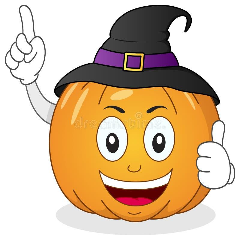 Caractère de potiron de Halloween avec le chapeau illustration libre de droits