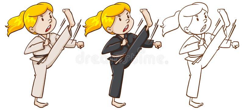 Caractère de rédaction pour la fille faisant le karaté illustration de vecteur