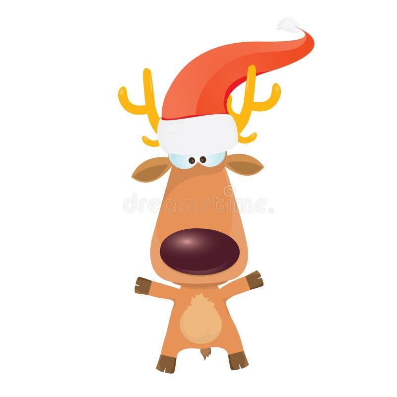 Caractère de renne de Noël de bande dessinée de vecteur. illustration libre de droits