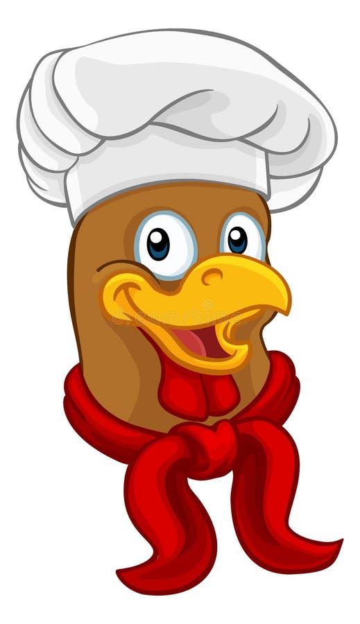 Caractère de Rooster Cockerel Cartoon de chef de poulet illustration de vecteur