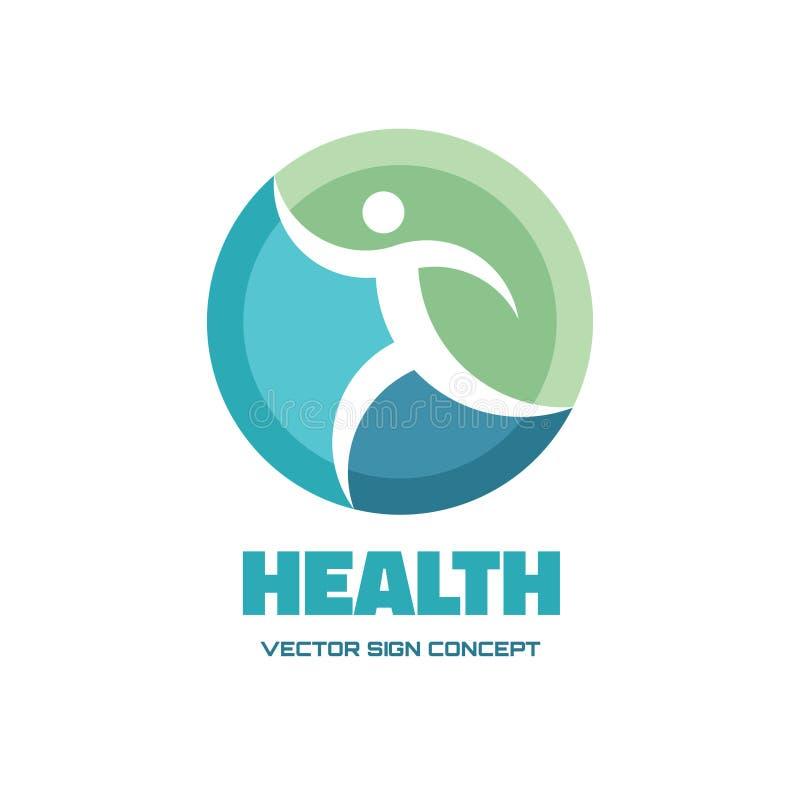 Caractère de santé - dirigez l'illustration de concept de calibre de logo Signe courant abstrait d'homme Élément de conception illustration stock