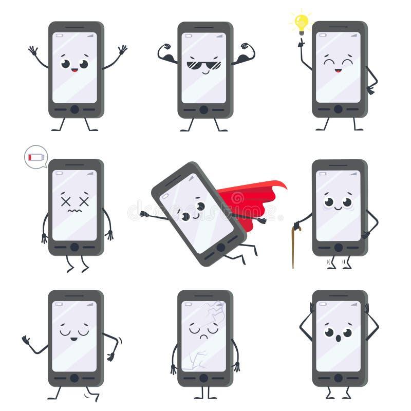 Caractère de smartphone de bande dessinée Mascotte de téléphone portable avec des mains, des jambes et le visage de sourire sur l illustration libre de droits