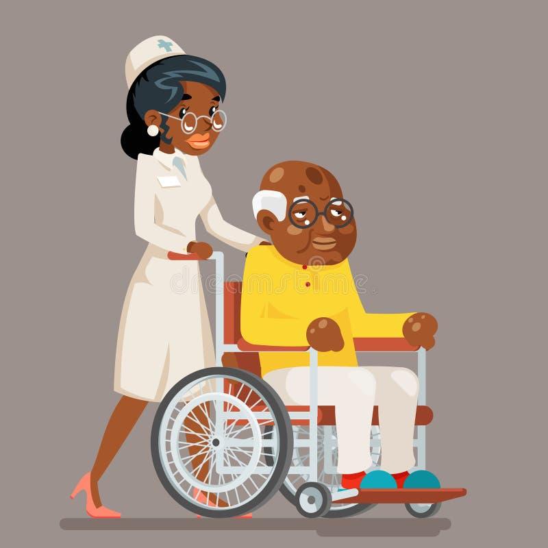 Caractère de soin plus âgé de vieil homme de fauteuil roulant de docteur d'afro-américain d'infirmière européenne Afro de préposé illustration libre de droits