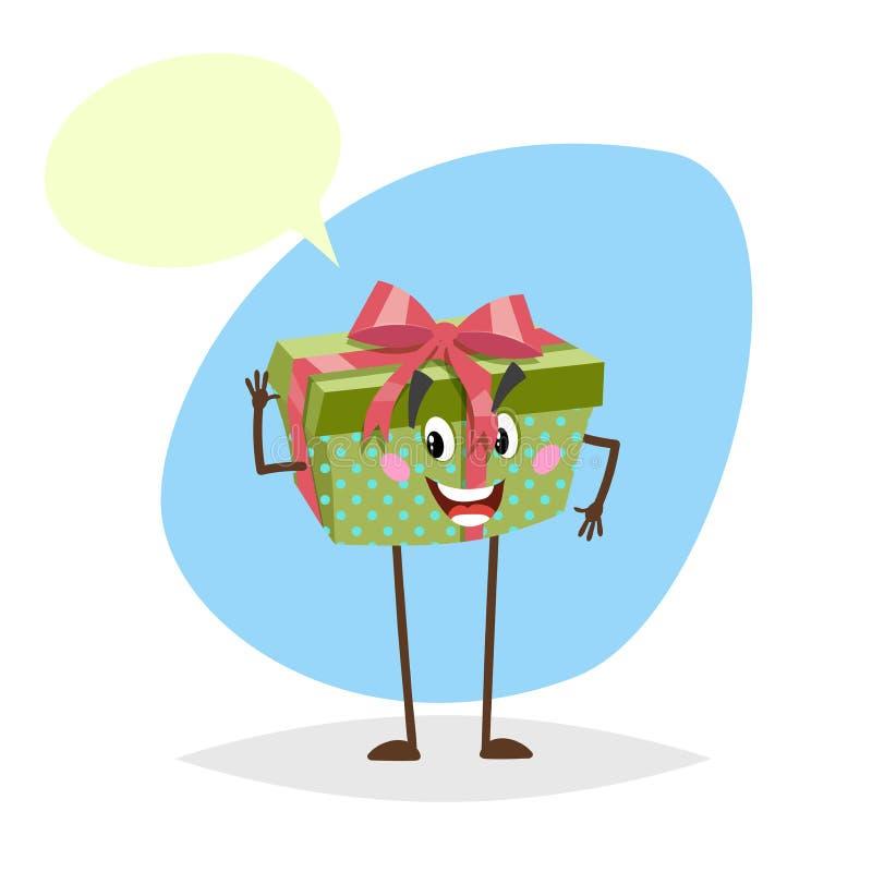 Caractère de sourire de boîte-cadeau pointillé par vert de bande dessinée avec le ruban et l'arc rouges Symbole humanisé de parti illustration stock