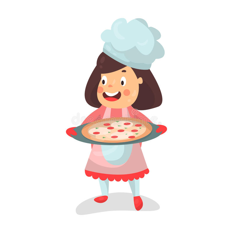 Caractère de sourire de chef de petite fille de bande dessinée mignonne tenant une pizza dans une illustration à cuire de plateau illustration de vecteur