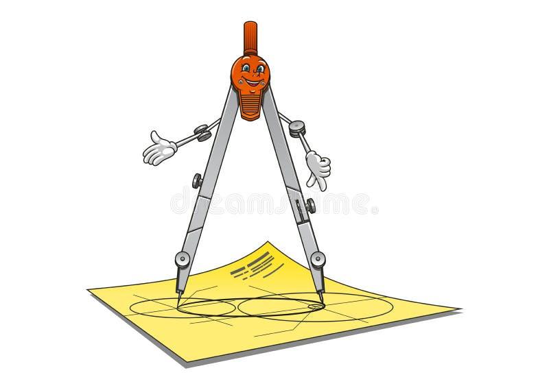 Caractère de sourire de boussole de dessin de bande dessinée illustration de vecteur