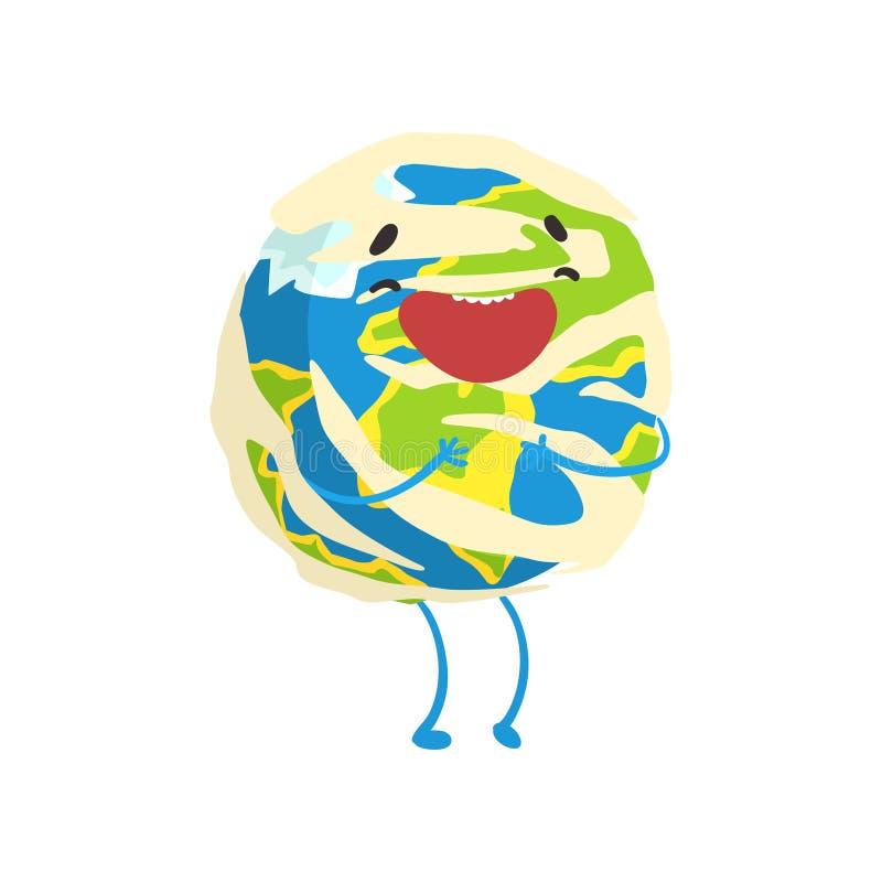 Caractère de sourire heureux de planète de la terre de bande dessinée, illustration drôle de vecteur d'emoji de globe illustration stock