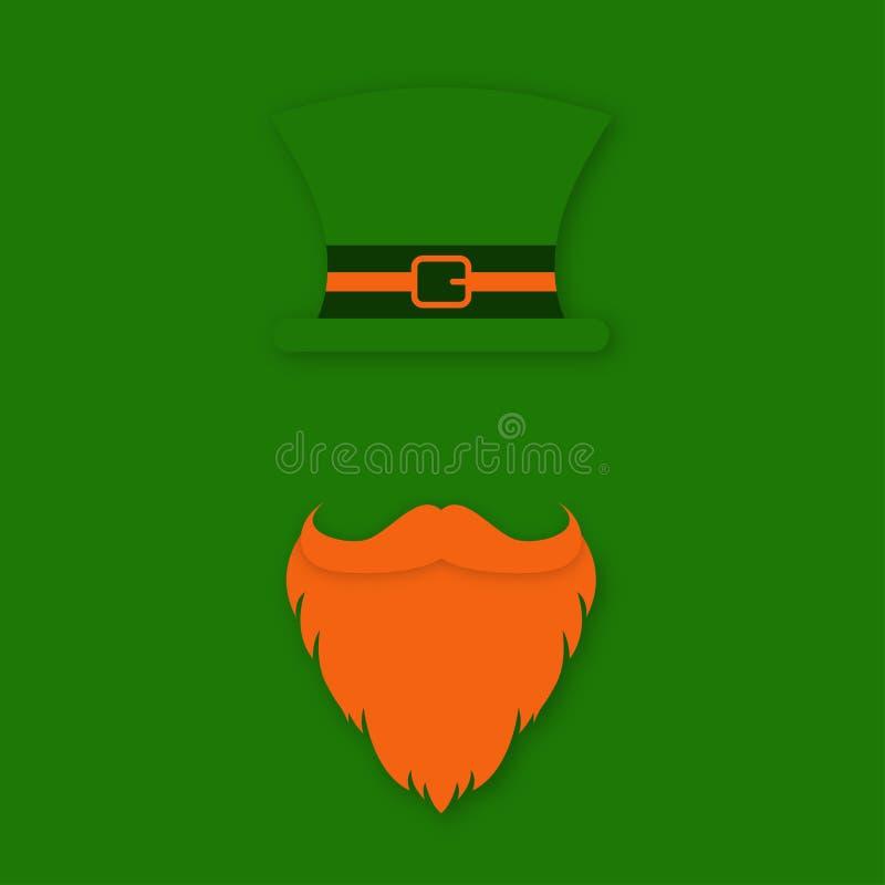 Caractère de St Patrick Day Chapeau du ` s de lutin avec la barbe et la moustache Conception de symbole de Patrick Day de saint illustration stock