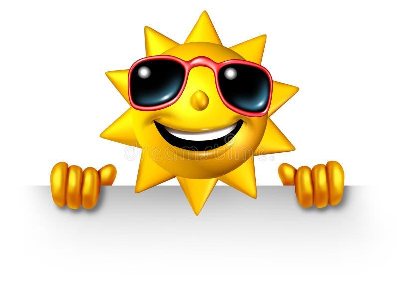 Caractère de Sun retenant un signe blanc illustration stock