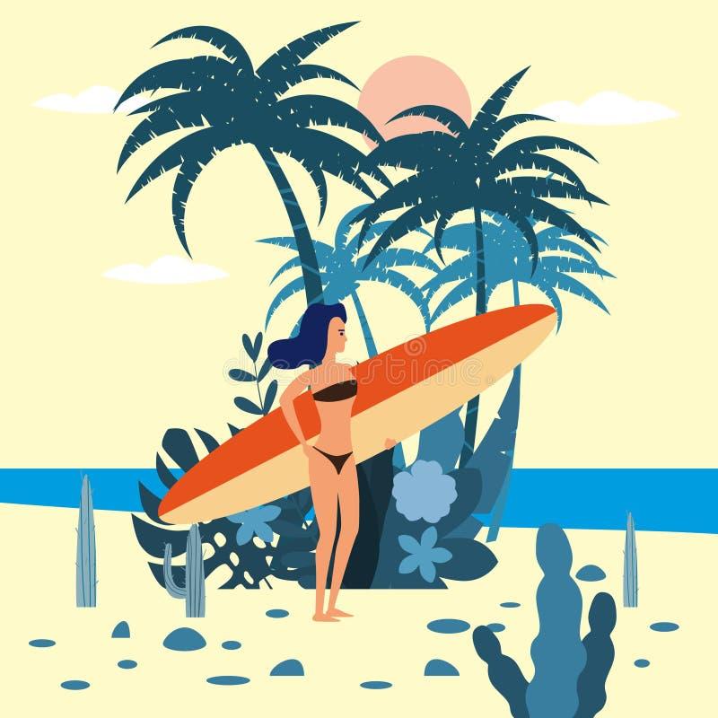 Caractère de surfer de femmes avec la planche de surf dans le bikini sur le fond des usines exotiques de la mer de paume, océan,  illustration stock