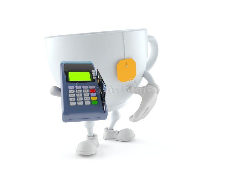 Caractère de tasse de thé tenant le lecteur de carte de crédit illustration libre de droits