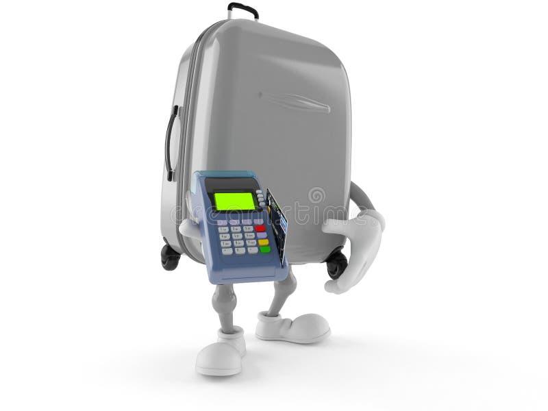 Caractère de valise tenant le lecteur de carte de crédit illustration stock