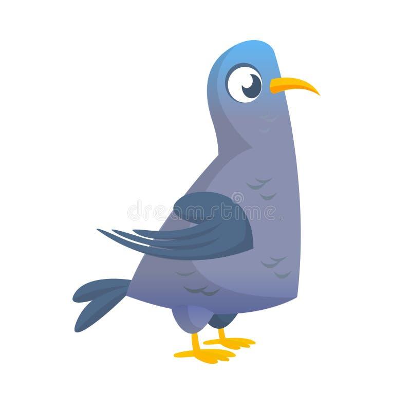 Caractère de vecteur de pigeon de bande dessinée Illustration plate colorée d'image de colombe D'isolement sur le blanc illustration de vecteur