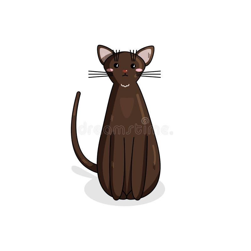 Caractère de vecteur de Havana Cat dans le style de Kawaii illustration libre de droits