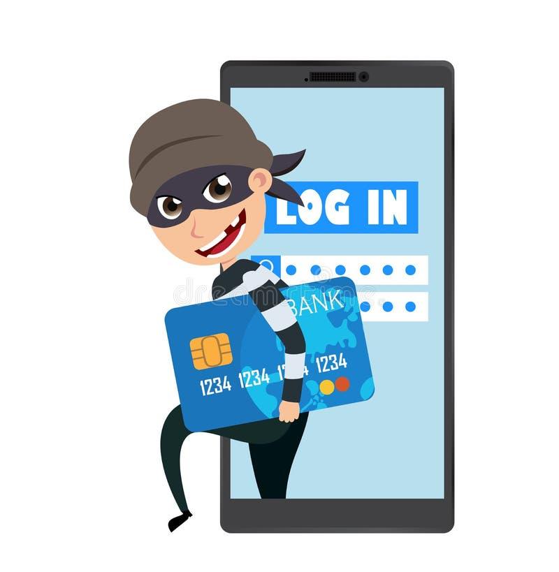 Caractère de vecteur de pirate informatique tenant l'information de carte de crédit volant l'information d'ouverture et des donné illustration de vecteur