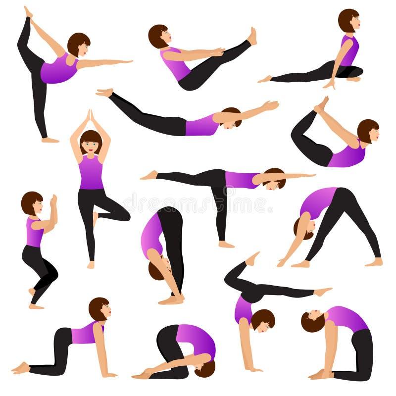 Caractère de yogi de jeunes femmes de vecteur de femme de yoga formant l'ensemble femelle d'exercice d'illustration flexible de p illustration stock