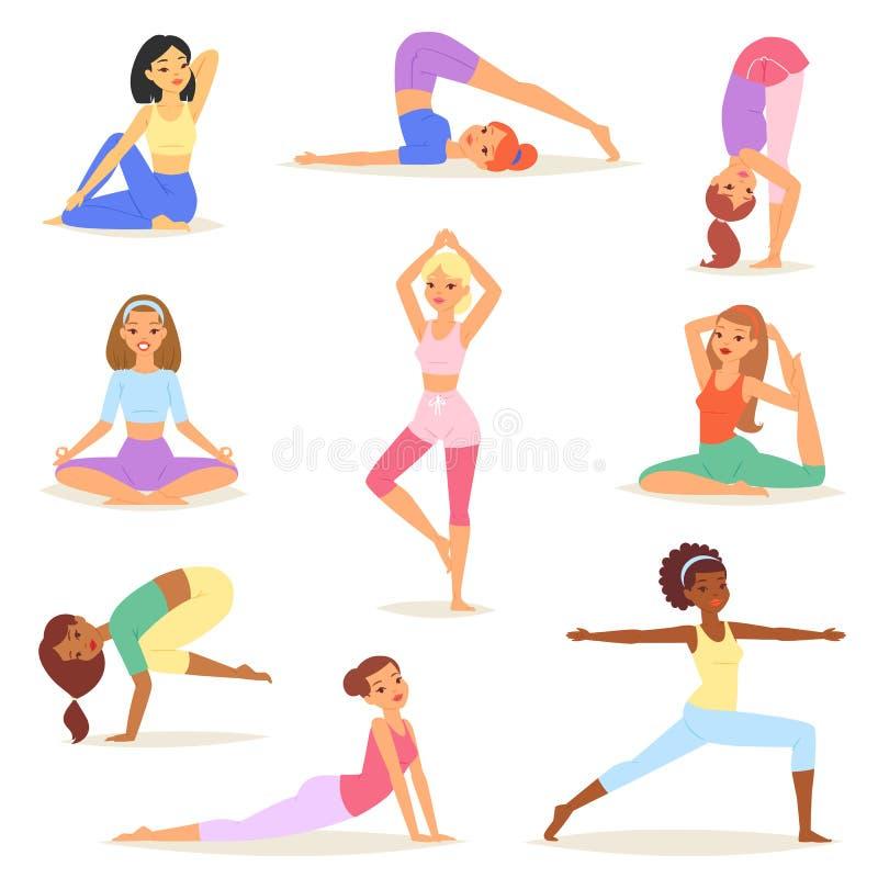 Caractère de yogi de jeunes femmes de vecteur de femme de yoga formant l'ensemble flexible d'illustration de pose d'exercice de m illustration stock