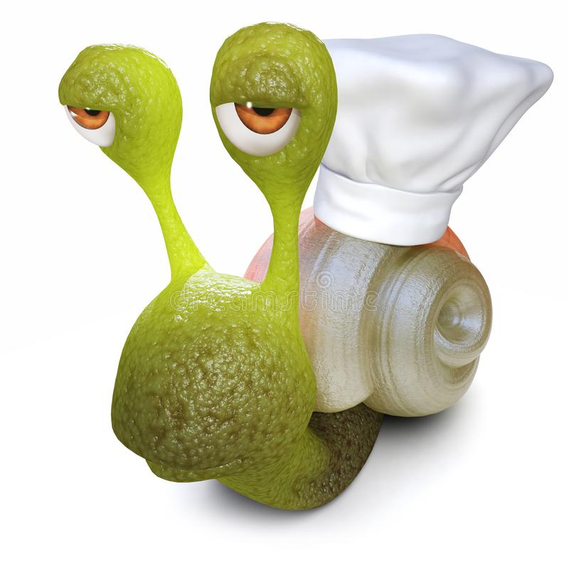 caractère drôle d'escargot de la bande dessinée 3d utilisant un chapeau de chefs sur sa coquille illustration libre de droits