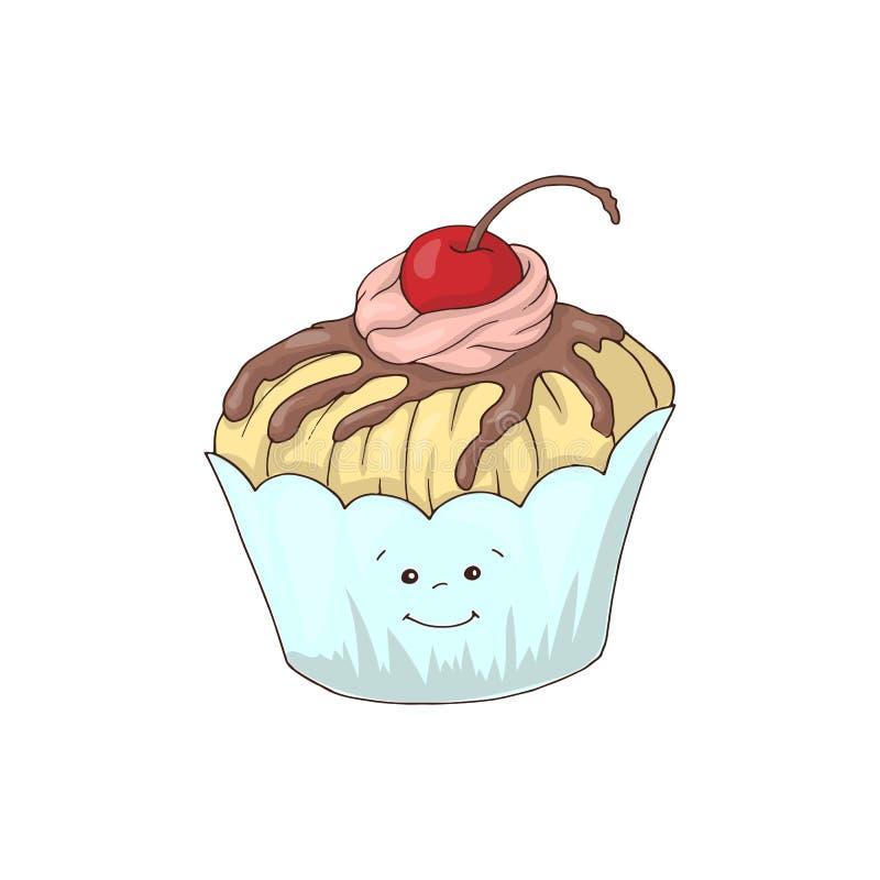 Caractère drôle de petit gâteau avec l'écrimage crème rose, illustration de vecteur de style de bande dessinée d'isolement sur le illustration libre de droits