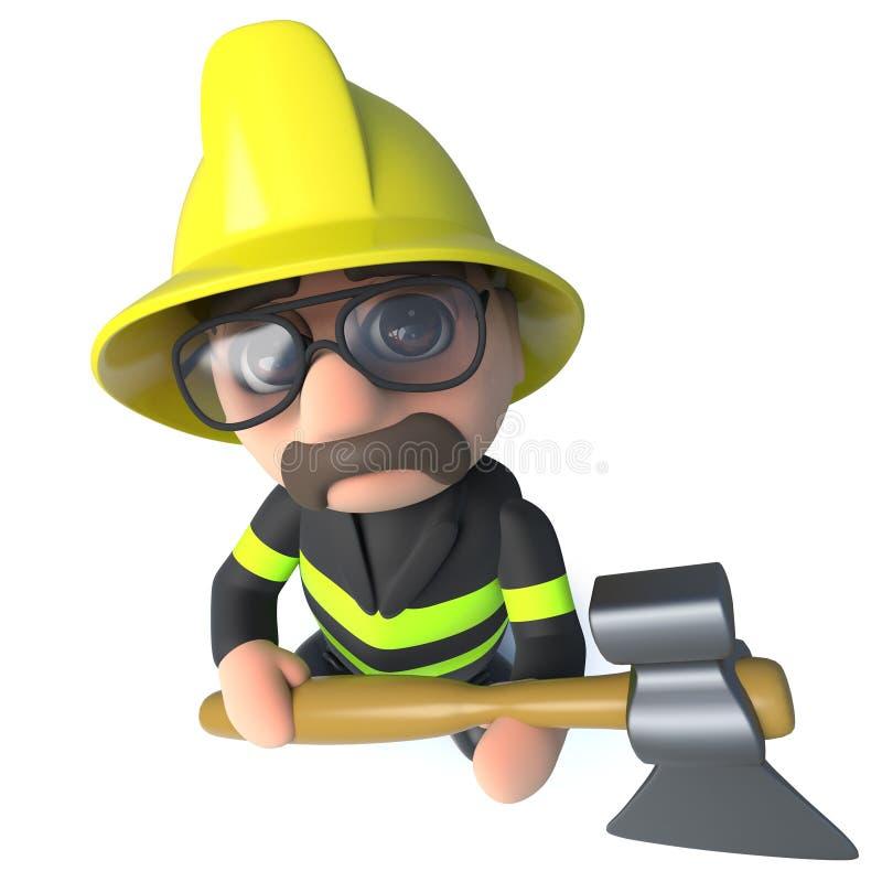 Caractère drôle de pompier de sapeur-pompier de la bande dessinée 3d tenant une hache illustration libre de droits
