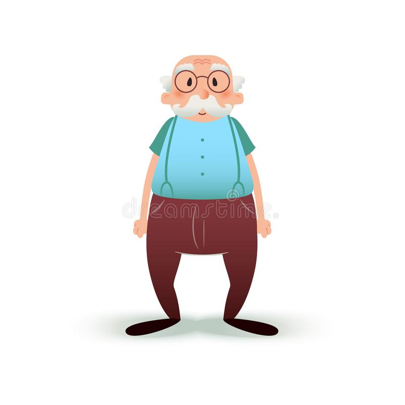 Caractère drôle de vieil homme de bande dessinée Aîné en verres et avec une moustache Illustration première génération d'isolemen illustration de vecteur