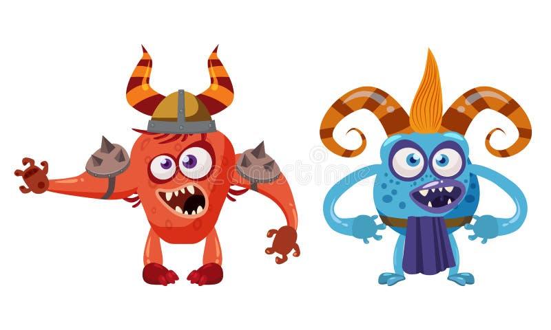 Caractère drôle mignon de conte de fées de diable d'anf de Troll de lutin, émotions, style de bande dessinée, pour des livres, la illustration libre de droits