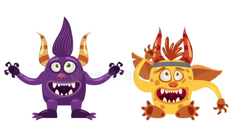 Caractère drôle mignon de conte de fées de Troll Bigfoot et de lutin, émotions, style de bande dessinée, pour des livres, la publ illustration stock
