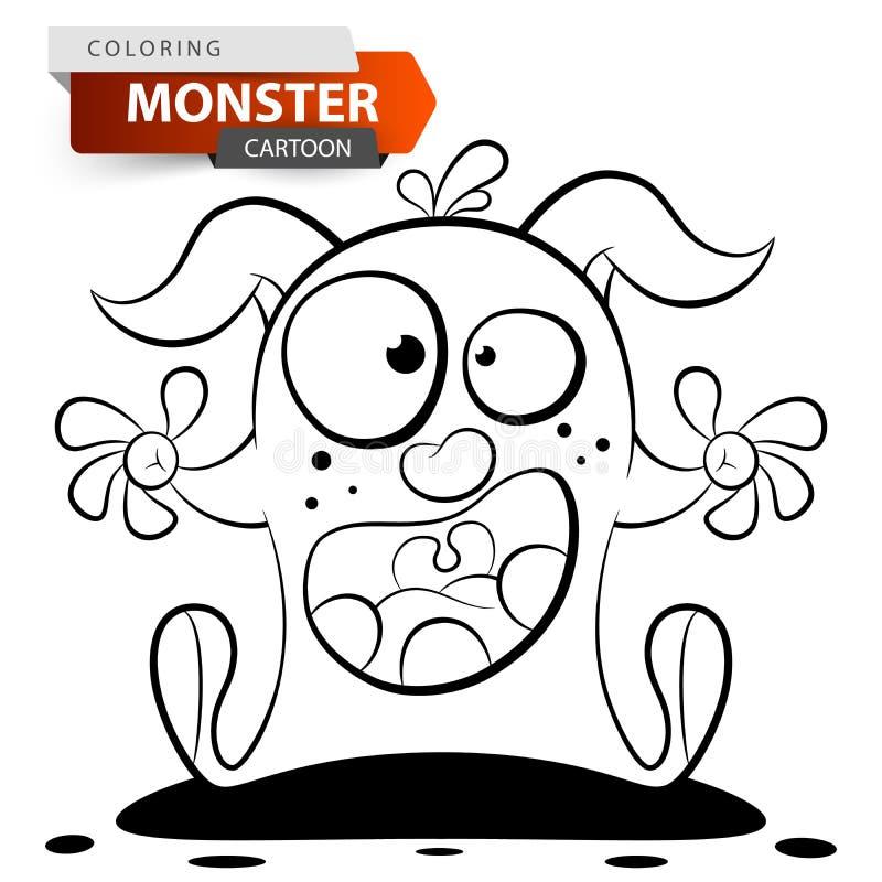 Caractère drôle, mignon, fou de monstre de bande dessinée Illustration de coloration illustration libre de droits